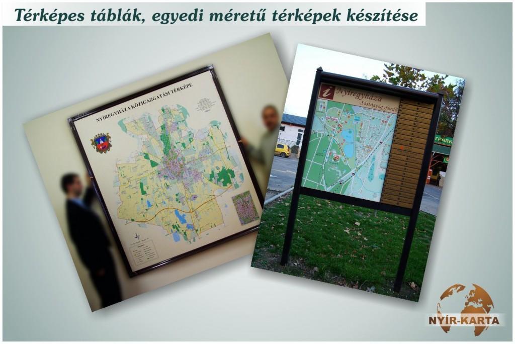Térképes táblák, egyedi méretű térképek készítése