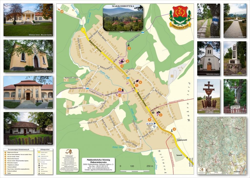Makkoshotyka térképes kültéri információs tábla